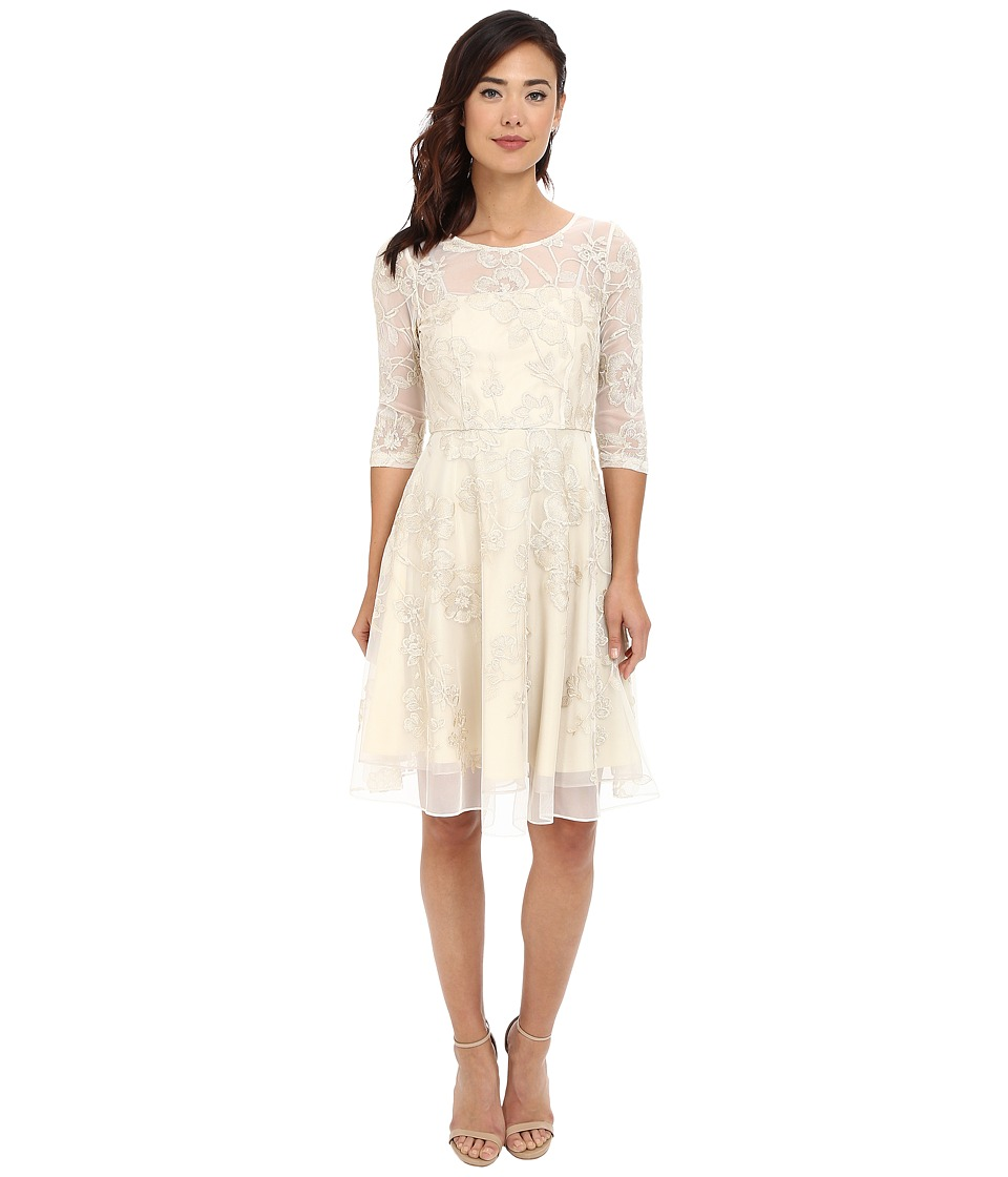 Tahari by ASL - 3/4 Sleeve Lace Embroidered Fit Flare (Champagne) Women's Dress