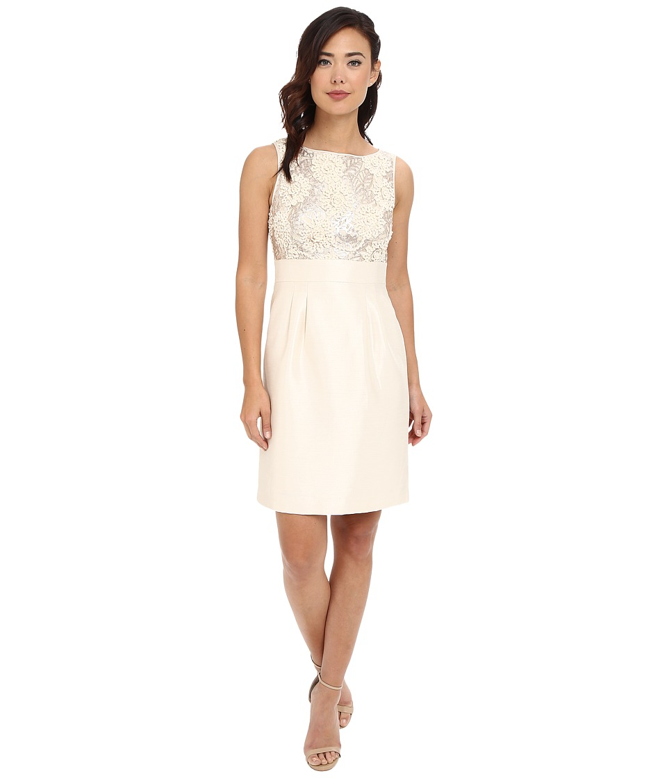 Tahari by ASL Embroidered Top/Shantung Skirt (Champagne) Women