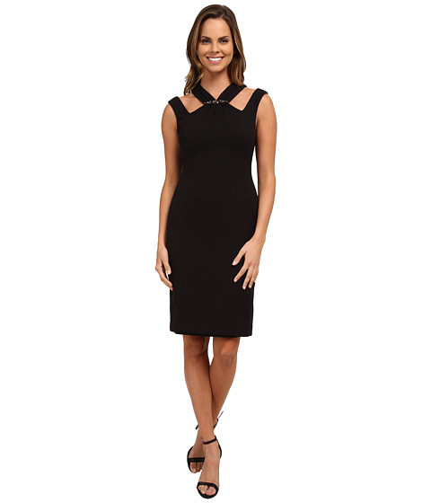 Anne Klein - Embellished Double Weave Crepe with Cut Away Neck (Black) Women's Dress