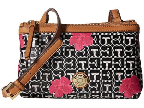 Tommy Hilfiger - Jane Double Top Zip Crossbody (Black/White) Cross Body Handbags