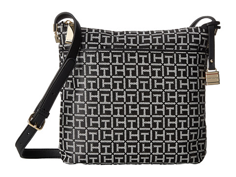 Tommy Hilfiger - TH Hinge North/South Crossbody (Black/White) Cross Body Handbags