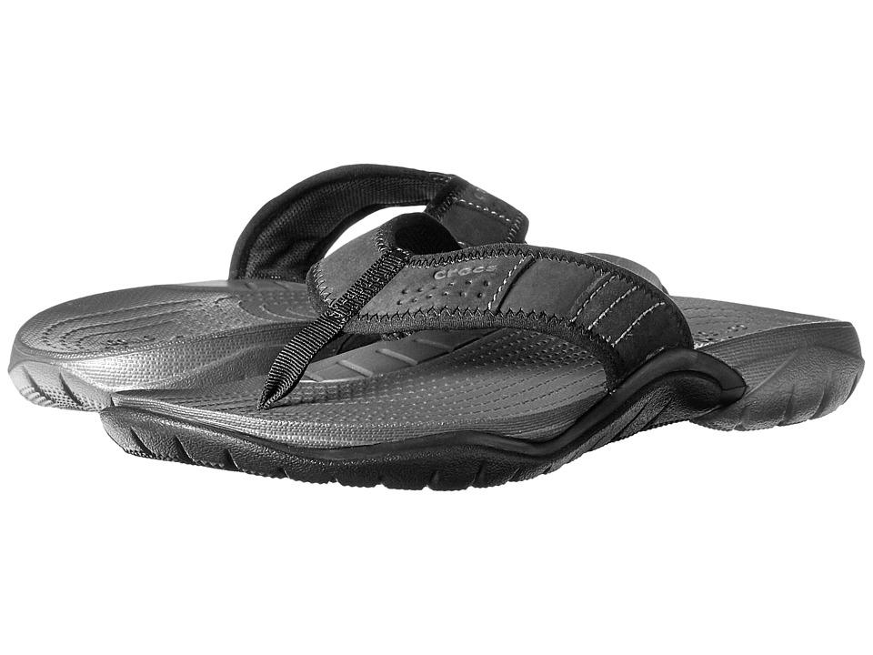 Crocs - Swiftwater Flip (Graphite/Black) Men's Slide Shoes
