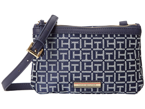Tommy Hilfiger - Jane Double Top Zip Crossbody (Navy/White 1) Cross Body Handbags