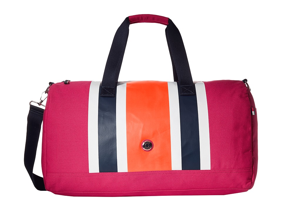 Tommy Hilfiger - TH Stripes - Painted Canvas Large Duffel (Raspberry/Orange/Navy) Duffel Bags