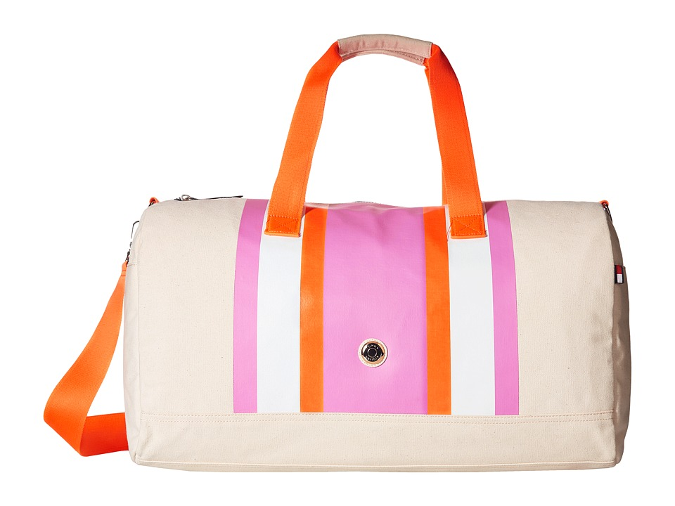 Tommy Hilfiger - TH Stripes - Painted Canvas Large Duffel (Natural/Pink/Orange) Duffel Bags