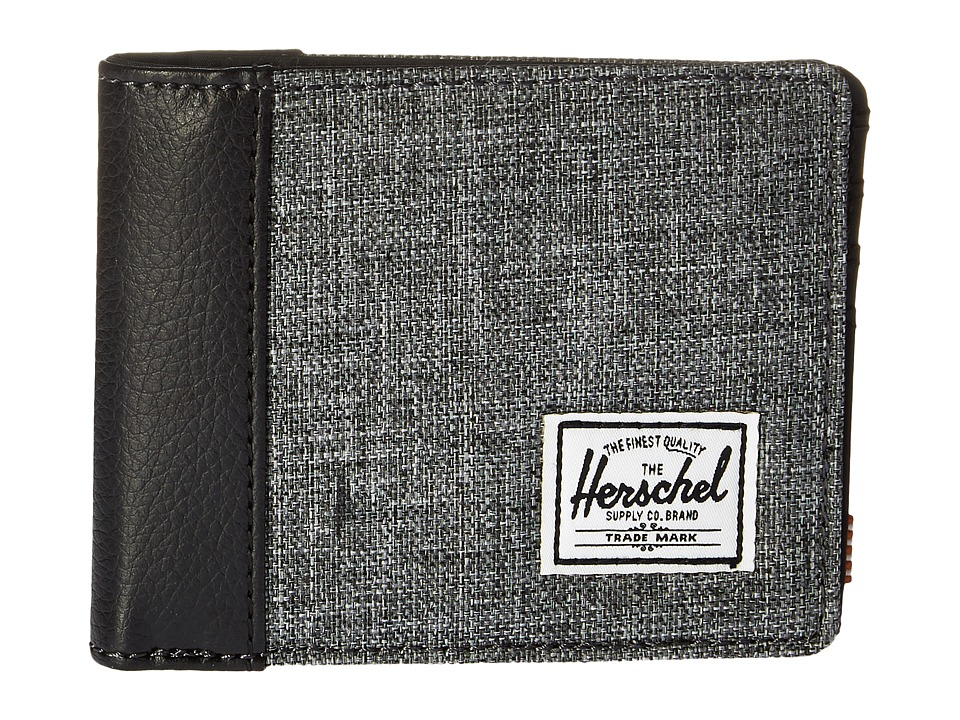 Herschel Supply Co. - Edward (Raven Crosshatch/Tan Pebbled Synthetic Leather) Bi-fold Wallet