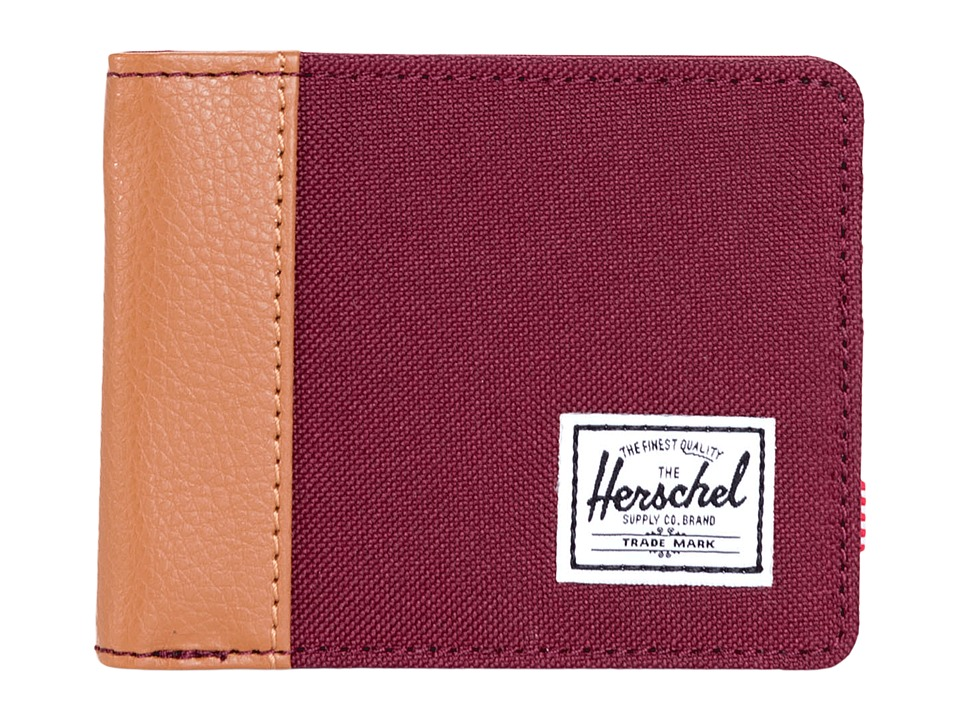 Herschel Supply Co. - Edward (Windsor Wine/Tan Pebbled Synthetic Leather) Bi-fold Wallet