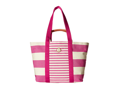 Tommy Hilfiger - Canvas Couplet Beach Bag (Raspberry/Natural) Backpack Bags