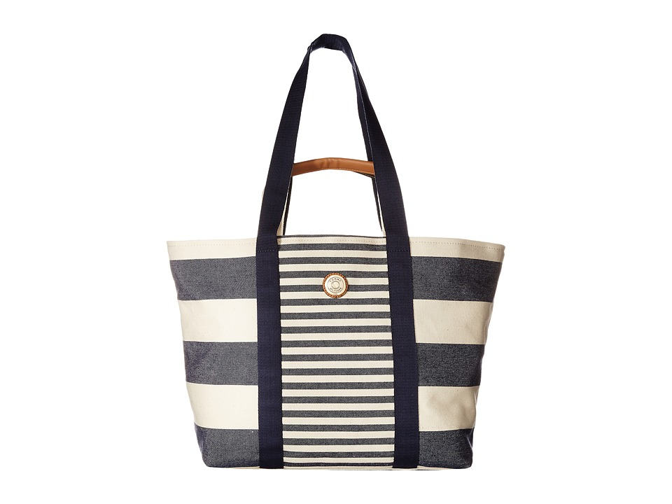 Tommy Hilfiger - Canvas Couplet Beach Bag (Navy/Natural) Backpack Bags