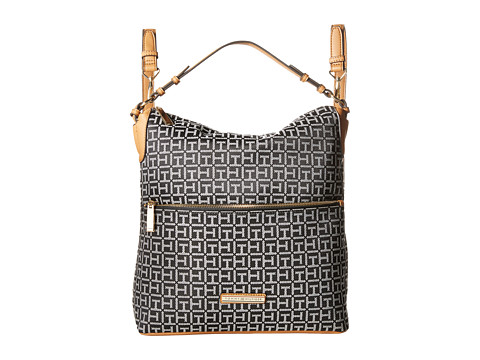 Tommy Hilfiger - Kimberly Hobo Backpack (Black/White) Backpack Bags