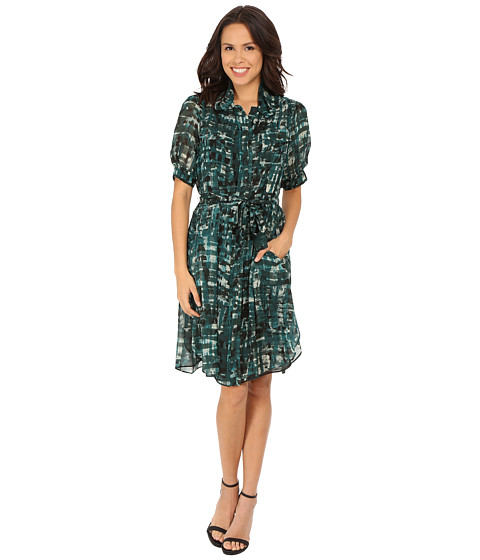Anne Klein - Printed Chiffon Shirtdress (Manet Green Combo) Women