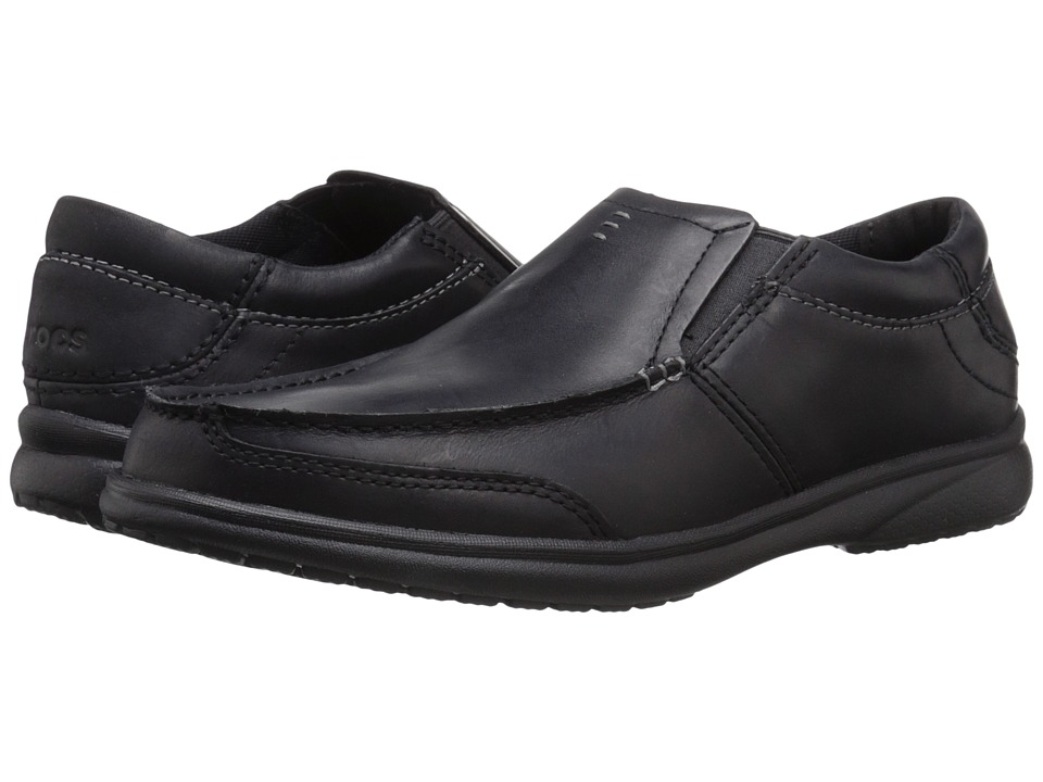 Crocs - Leather Loafer (Black/Black) Men's Slip on Shoes