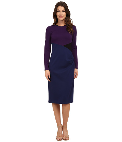 Anne Klein - Milano Color Block Long Sleeve Side Drape Sheath Dress (Phoenix Combo) Women