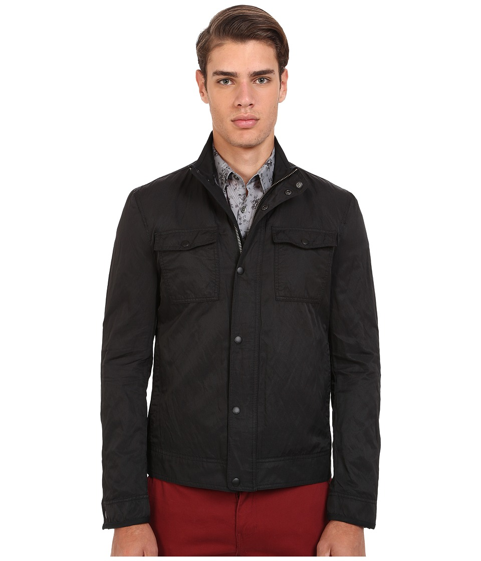 John Varvatos Star U.S.A. - Mixed Fabric Military Jacket O1307R4B (Black) Men's Coat