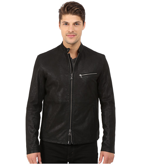 John Varvatos Star U.S.A. - Leather Racer Jacket L936R4B (Black) Men