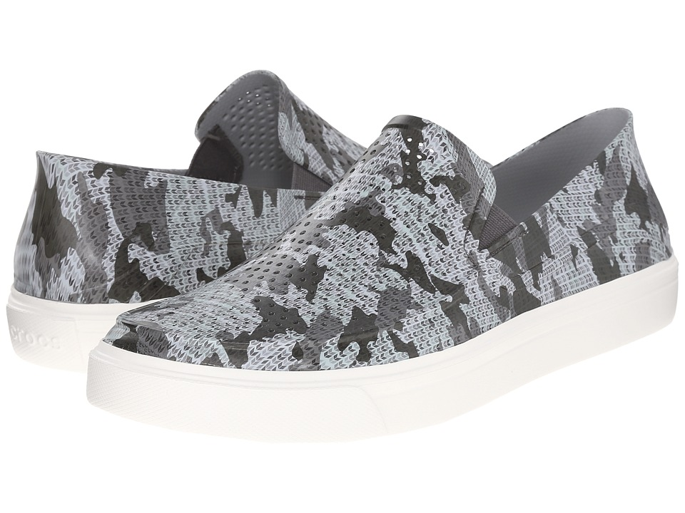 Crocs - CitiLane Roka Camo Slip-On (Graphite/White) Men's Slip on Shoes