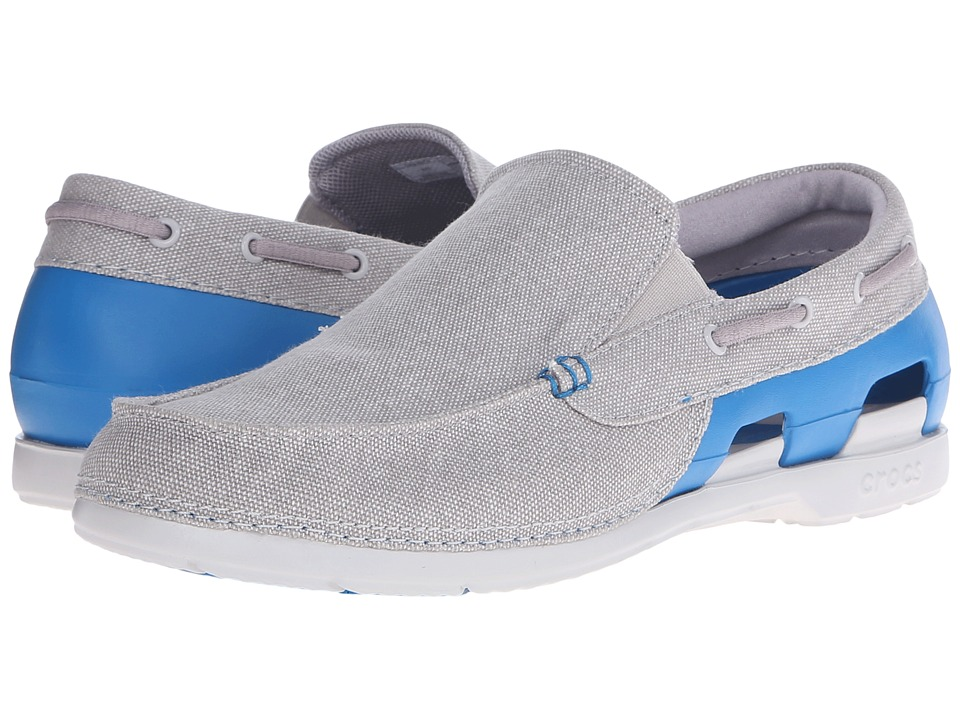 Crocs - Beach Line Canvas Slip-On (Grey/Ultramarine) Men's Slip on Shoes