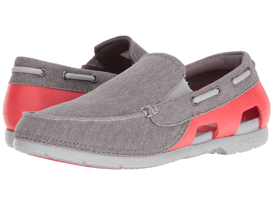 Crocs - Beach Line Canvas Slip-On (Graphite/Flame) Men