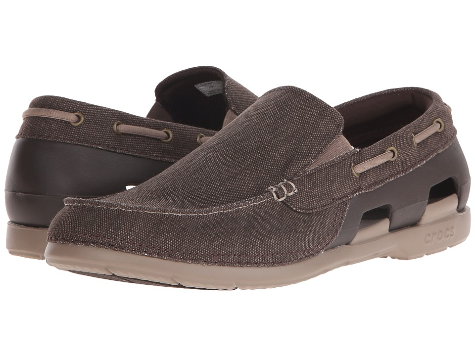 Crocs - Beach Line Canvas Slip-On (Espresso/Mushroom) Men's Slip on Shoes