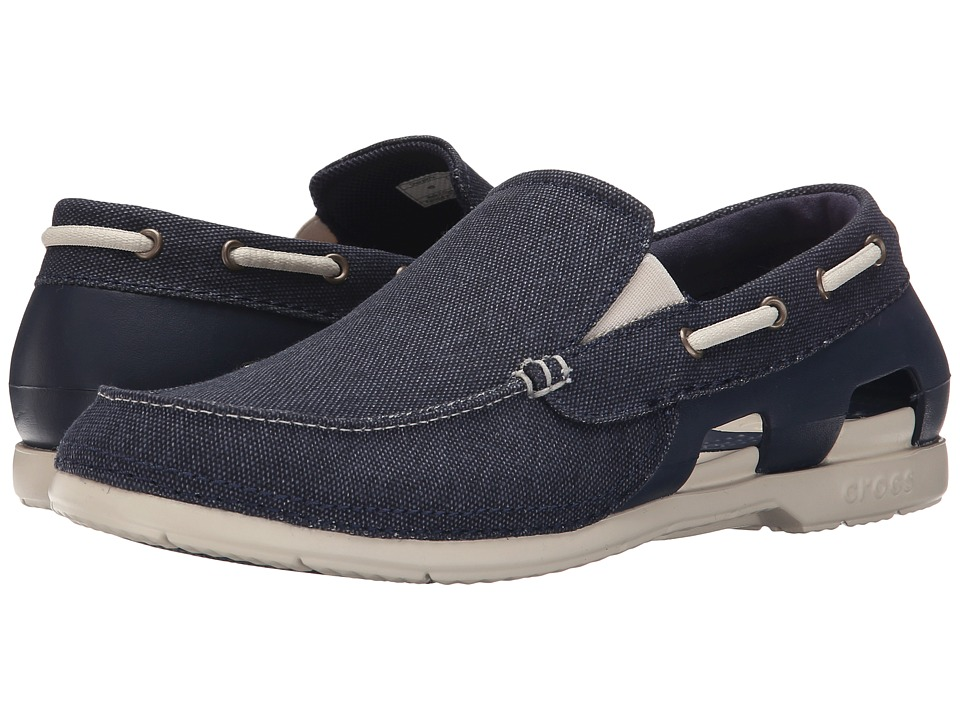 Crocs - Beach Line Canvas Slip-On (Navy/Stucco) Men's Slip on Shoes