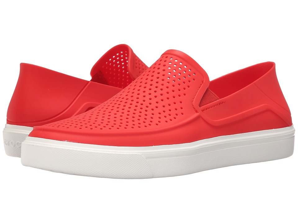 Crocs - CitiLane Roka Slip-On (Flame/White) Men's Slip on Shoes
