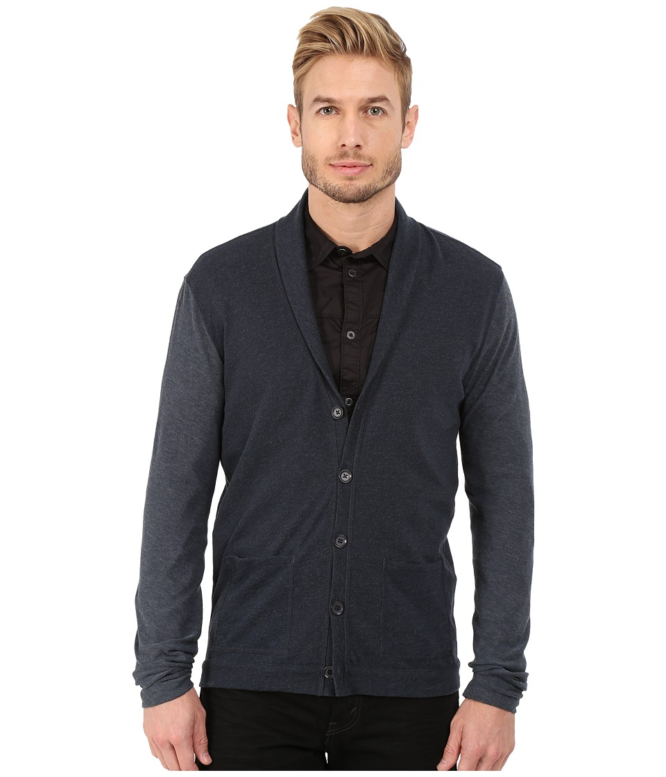 John Varvatos Star U.S.A. - Long Sleeve Shawl Collar Knit Cardigan with Tonal Sleeves K2471R4B (Dutch Blue) Men