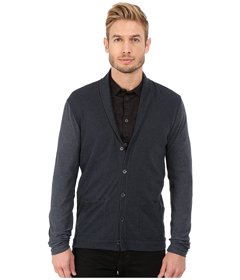 John Varvatos Star U.S.A. - Long Sleeve Shawl Collar Knit Cardigan with Tonal Sleeves K2471R4B (Dutch Blue) Men's Sweater