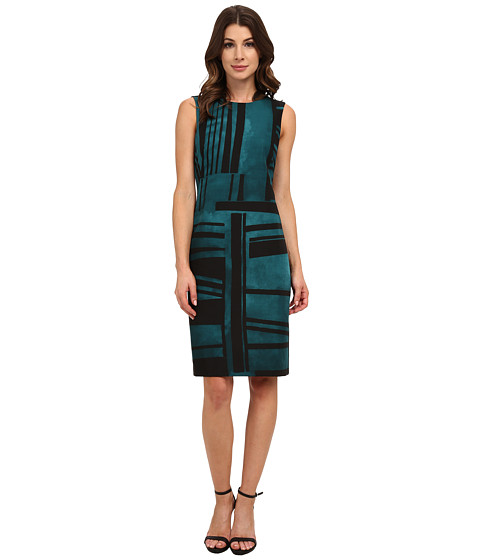 Anne Klein - Printed Twill Shift Dress with Collar (Tree Line Combo) Women