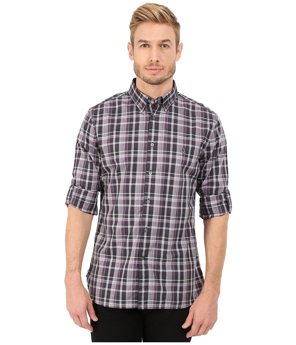 John Varvatos Star U.S.A. - Slim Fit Plaid Button Down Collar Sport Shirt W426R4B (Plum) Men's Long Sleeve Button Up