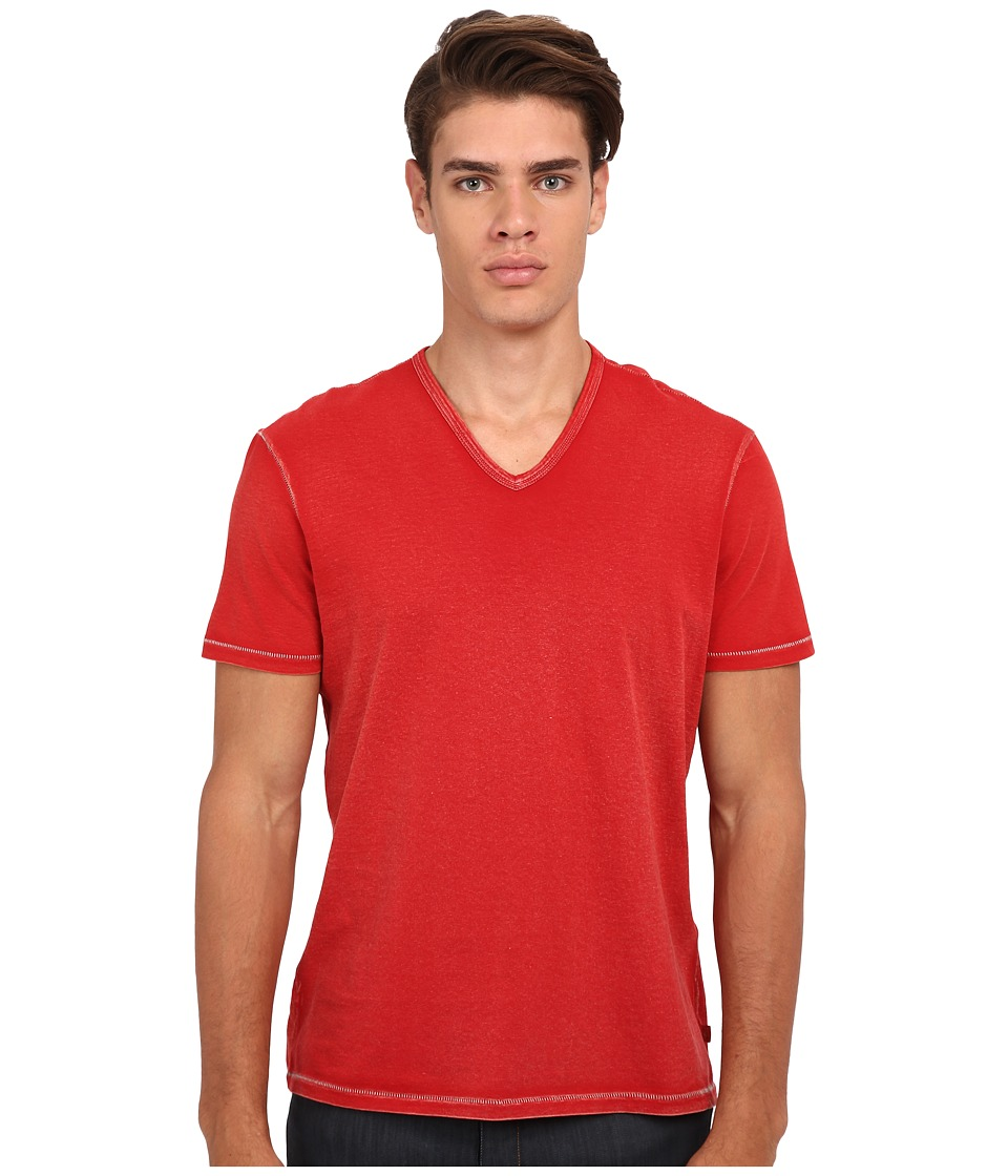 John Varvatos Star U.S.A. - Short Sleeve Knit V-Neck K677R4B (Red Clay) Men's T Shirt