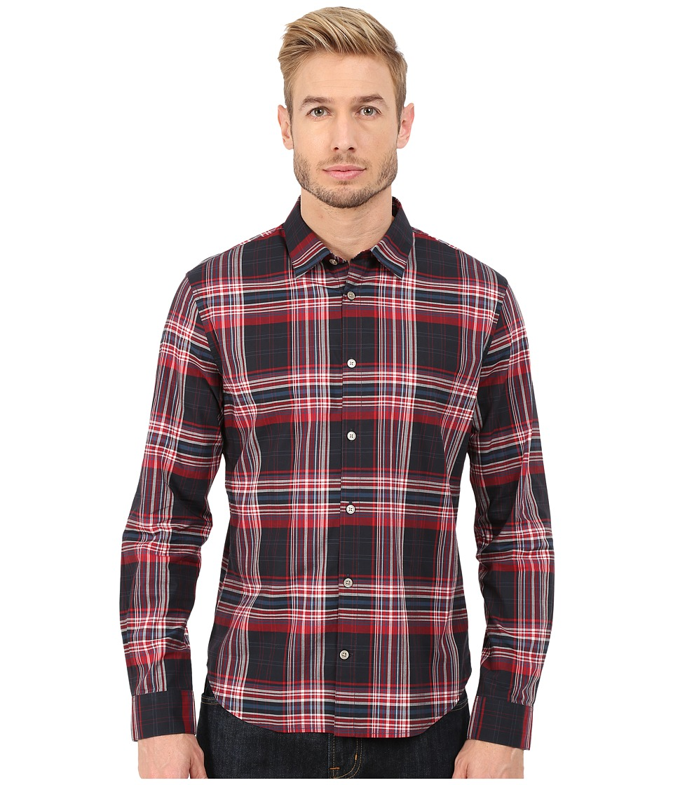 John Varvatos Star U.S.A. - Slim Fit Plaid Sport Shirt W503R4B (Dutch Blue) Men's Long Sleeve Button Up