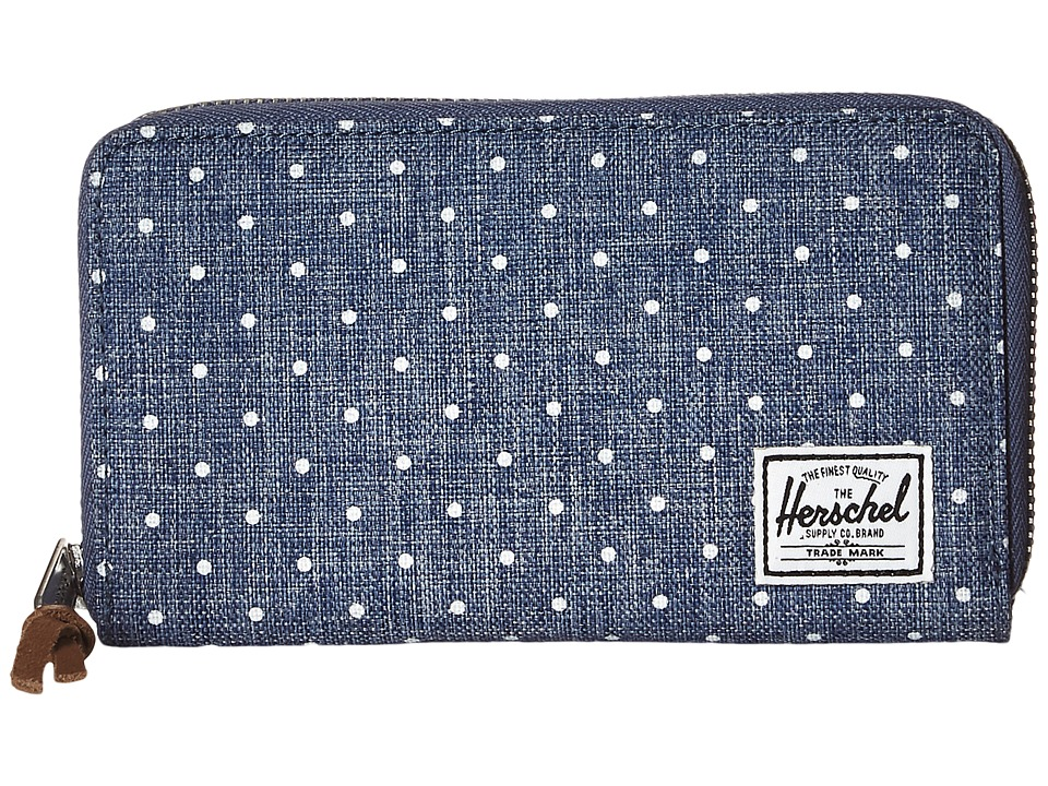 Herschel Supply Co. - Thomas (Limoges Crosshatch/White Polka Dot) Wallet Handbags