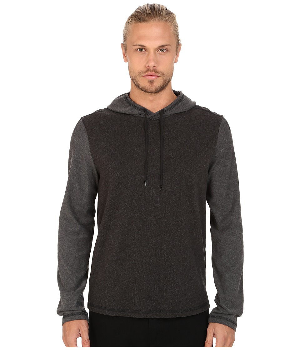John Varvatos Star U.S.A. - Long Sleeve Pullover Knit Hoodie with Tonal Sleeves and Hood K2469R4B (Black) Men's Sweatshirt