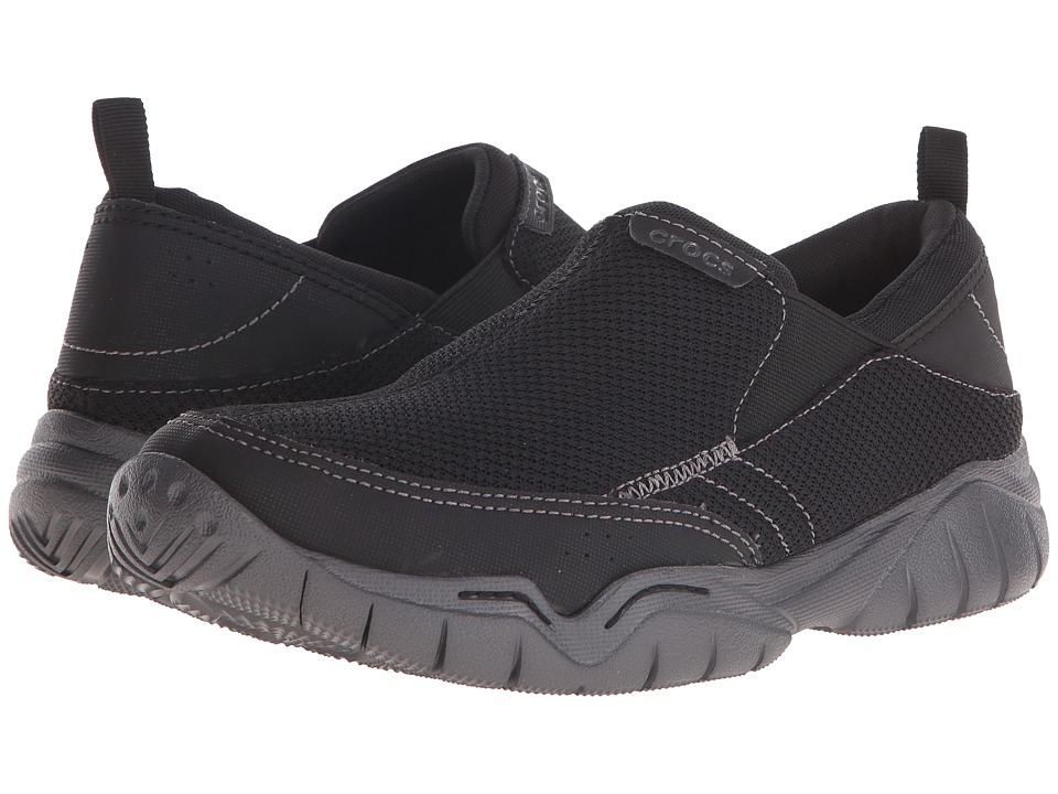 Crocs - Swiftwater Mesh Moc (Black/Graphite) Men's Moccasin Shoes