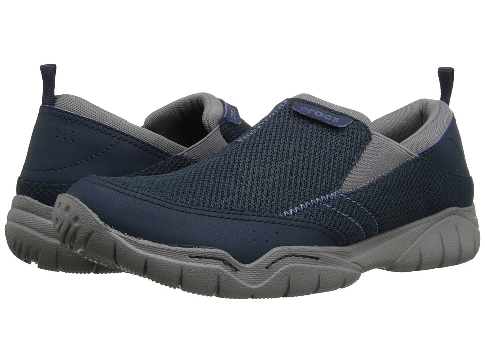 Crocs - Swiftwater Mesh Moc (Navy/Smoke) Men's Moccasin Shoes