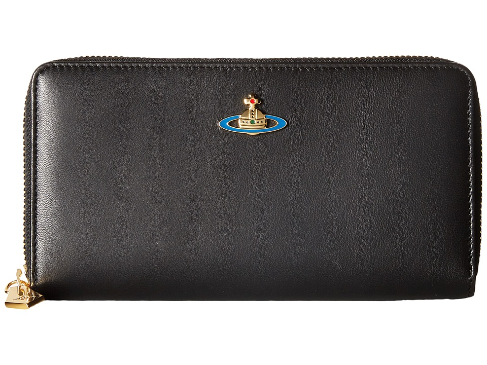 Vivienne Westwood - Braccialini Nappa Zip Around Wallet (Black) Wallet Handbags