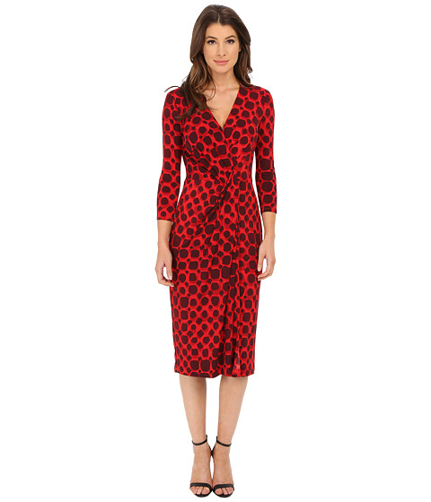 Anne Klein - Printed Jersey V-Neck Draped Dress (Memling Red Combo) Women