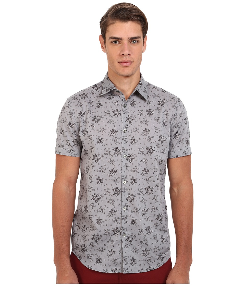 John Varvatos Star U.S.A. - Slim Fit Floral Sport Shirt with Cuffed Short Sleeves W444R4L (Water) Men's Short Sleeve Button Up
