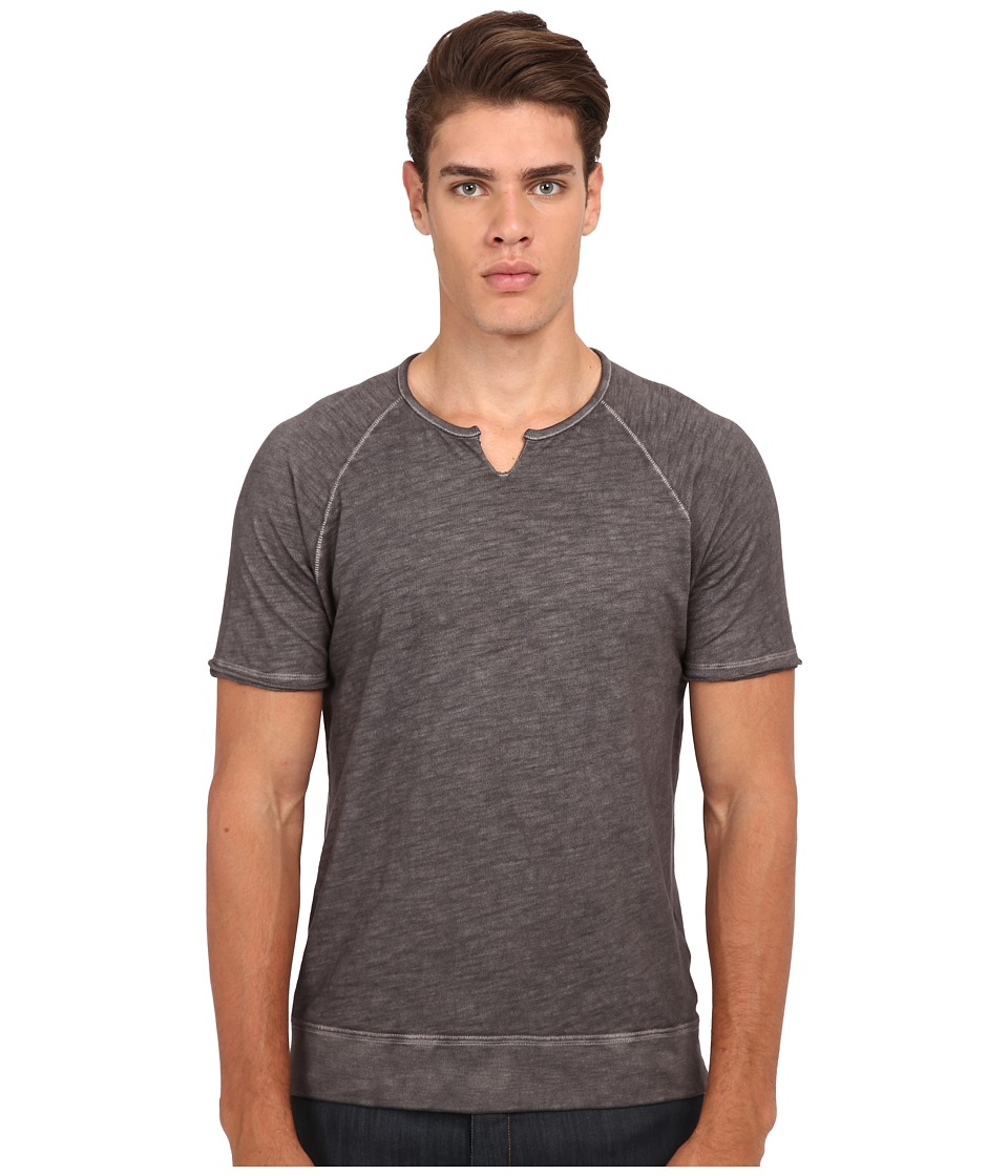 John Varvatos Star U.S.A. - Short Sleeve Raglan Knit Crew Neck K2513R4B (Cast Iron) Men's Clothing