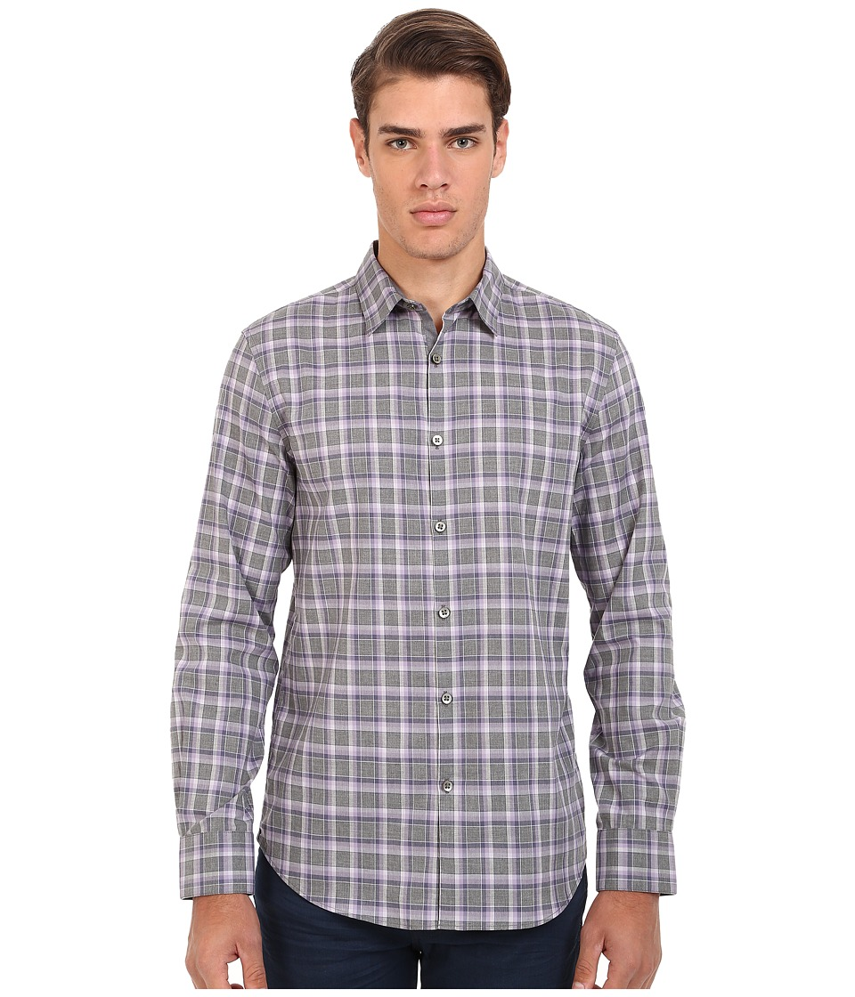 John Varvatos Star U.S.A. - Slim Fit Plaid Sport Shirt W434R4L (Ash Heather) Men's Long Sleeve Button Up