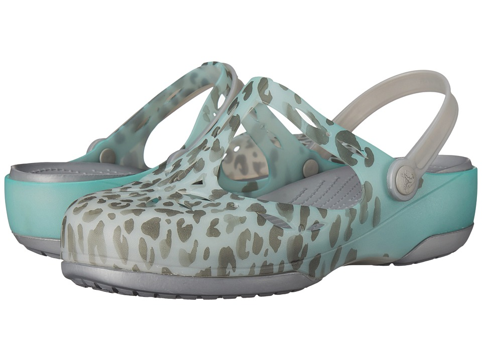 Crocs - Carlie Leopard Fade Clog (Sea Blue/Silver) Women's Clog Shoes