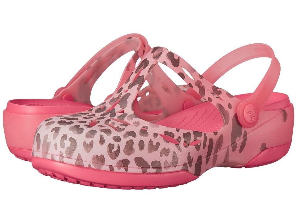 Crocs - Carlie Leopard Fade Clog (Coral/Coral) Women's Clog Shoes