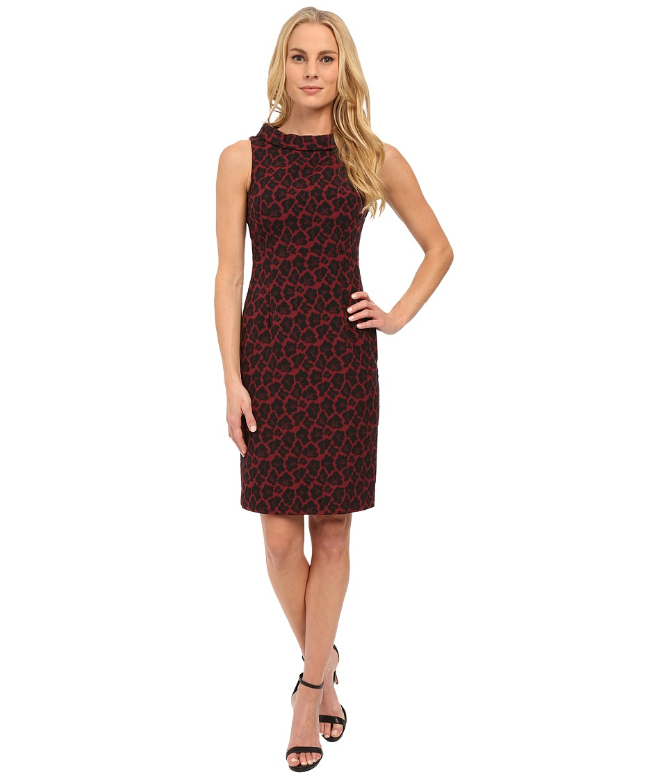 Anne Klein - Jacquard Roll Neck Sleeveless (Cordoba Red Combo) Women's Dress