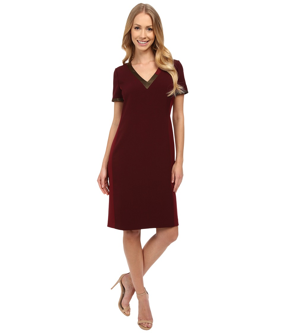 Anne Klein - Crepe Short Sleeve Sheath Dress with Asymetrical Neckline (Troubadour Red Combo) Women's Dress