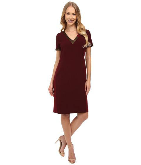 Anne Klein - Crepe Short Sleeve Sheath Dress with Asymetrical Neckline (Troubadour Red Combo) Women's Dress