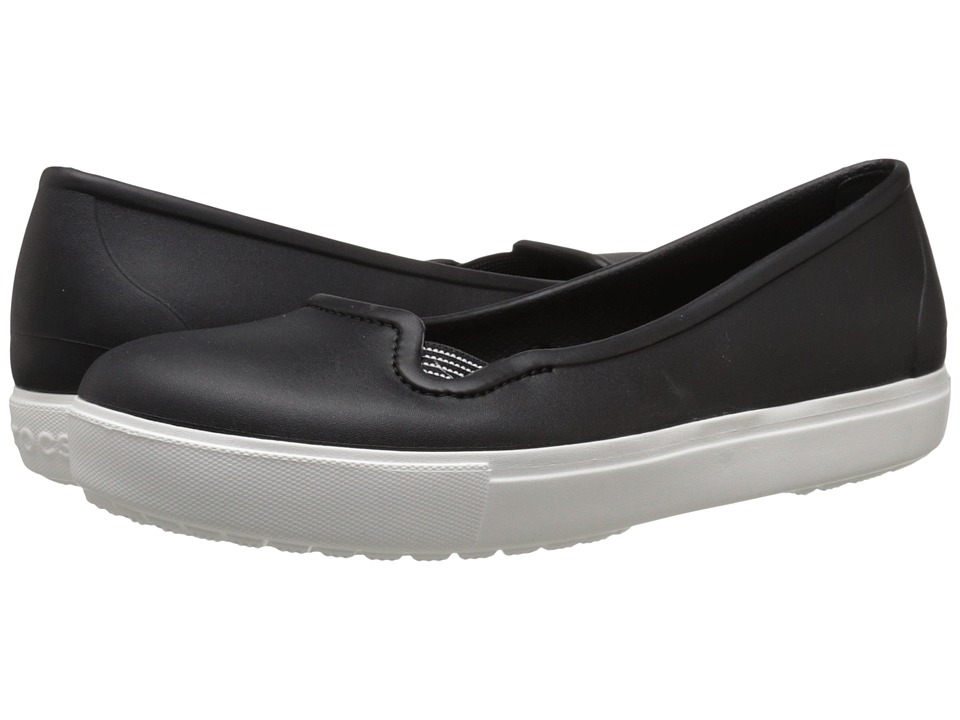 Crocs - CitiLane Flat (Black/White) Women's Flat Shoes