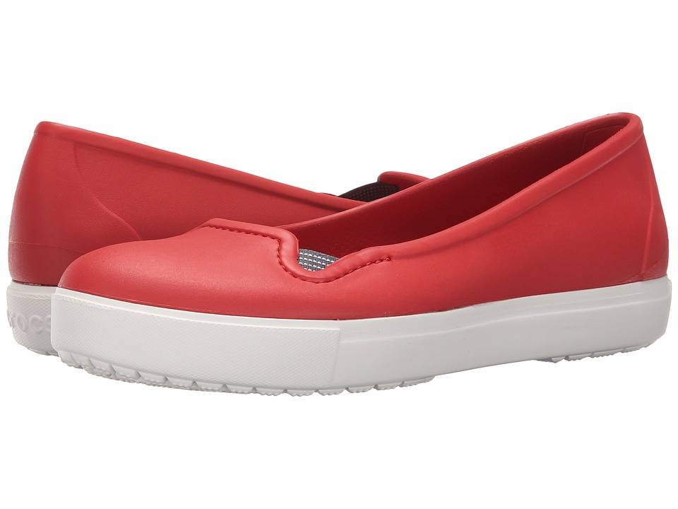 Crocs - CitiLane Flat (Flame/White) Women's Flat Shoes