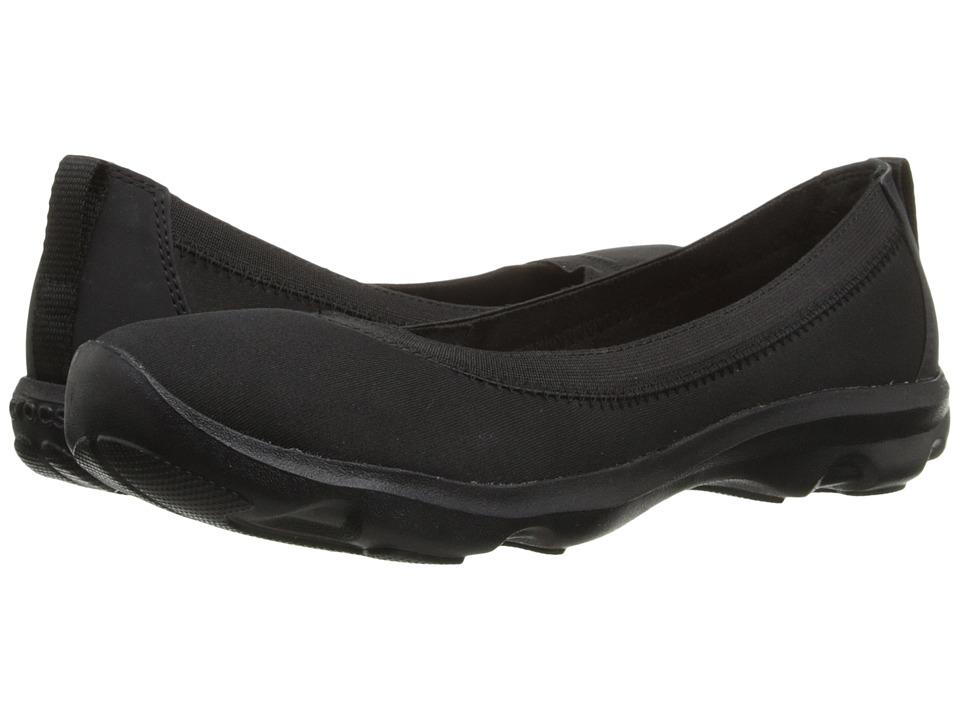Crocs - Busy Day Stretch Flat (Black/Black) Women's Flat Shoes