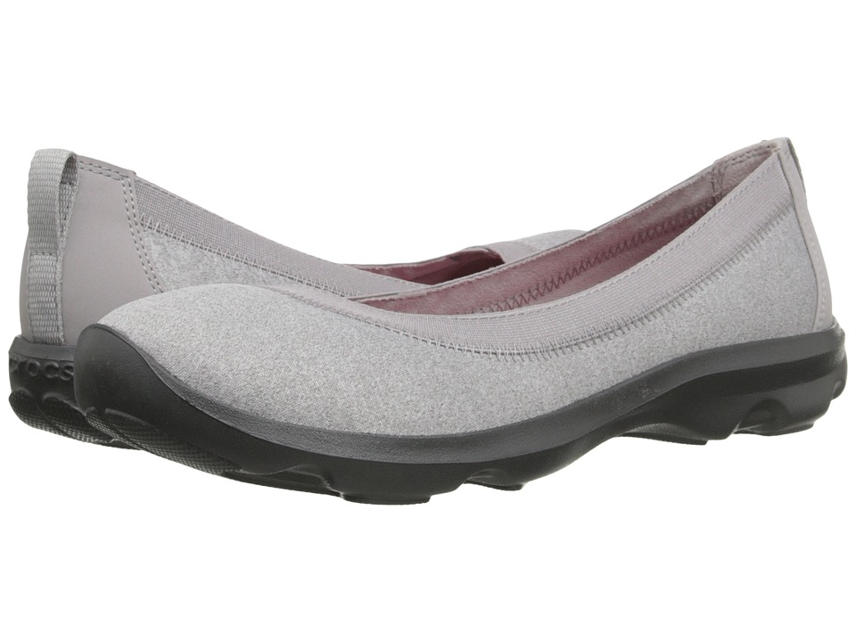 Crocs - Busy Day Heathered Flat (Light Grey) Women's Flat Shoes