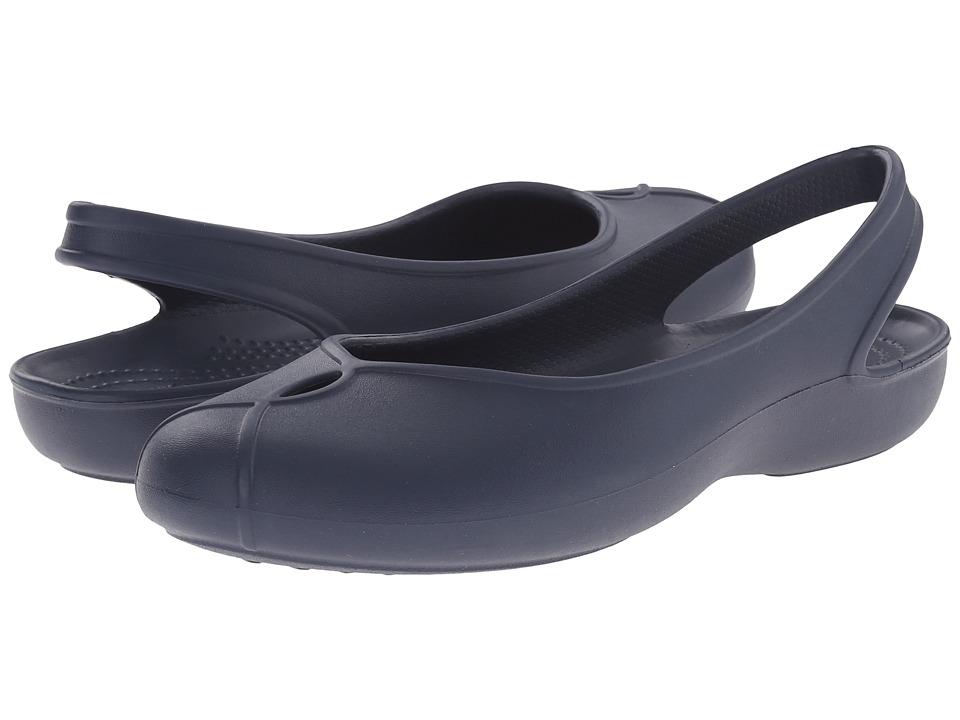 Crocs - Olivia II Flat (Navy) Women's Flat Shoes